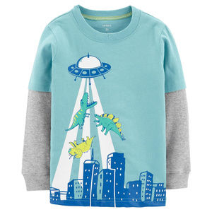 Carters Baby Boy UFO Dinosaur Layered-Look Tee